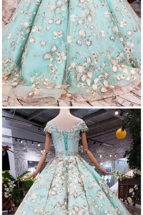 Big Sheer Neck Puffy Prom Dress with Cap Sleeves, Fairy Tale Lace Dress with Beading
