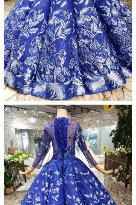 Blue Ball Gown Floral Prom Dress with Long Sleeves, Appliqued Long Quinceanera Dress