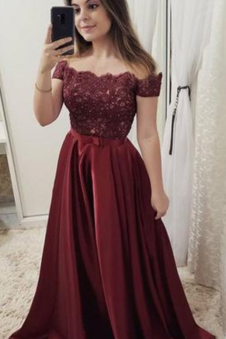 Burgundy Off Shoulder Satin Prom Dress with Lace, A Line Cheap Formal Dresses