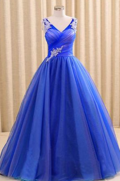 Royal Blue V Neck Sleeveless Prom Dress, Floor Length Long Quinceanera Dresses