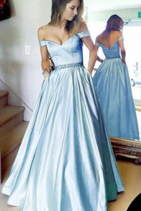 Light Blue Off the Shoulder Satin Prom Dress with Beading, Cheap Long Formal Dress