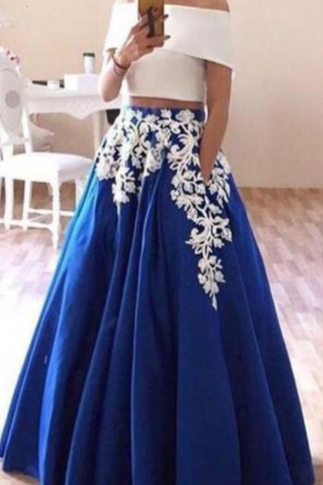 New Off the Shoulder Two Piece Prom Dress, Floor Length Blue Formal Dresses