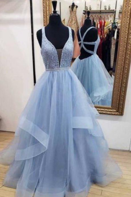 Blue Long Prom Dresses Deep V Neck Tulle Party Dresses, Floor Length Sleeveless Dress