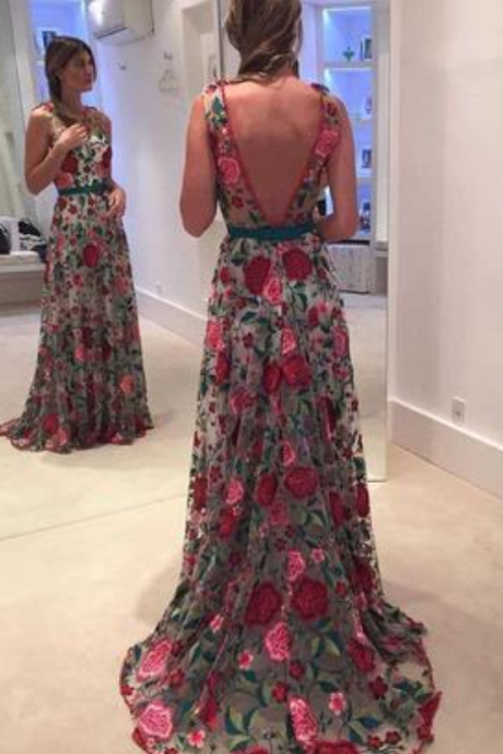 A Line Sleeveless Prom Dress with Embroidery, Long Formal Dress with V Back