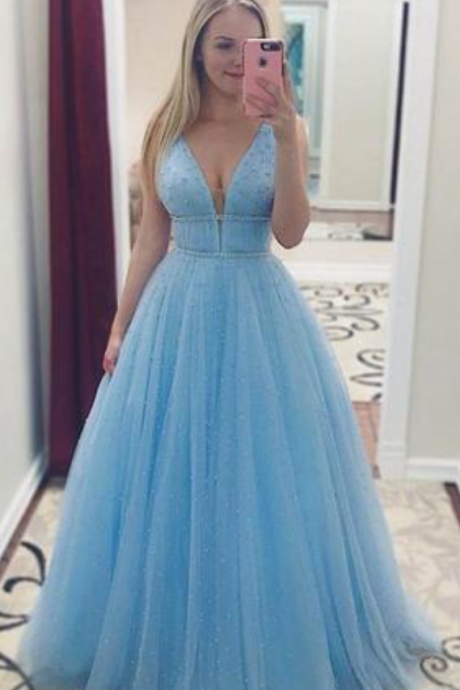 Sky Blue V Neck Floor Length Prom Dress with Beading, A Line Tulle Formal Dress