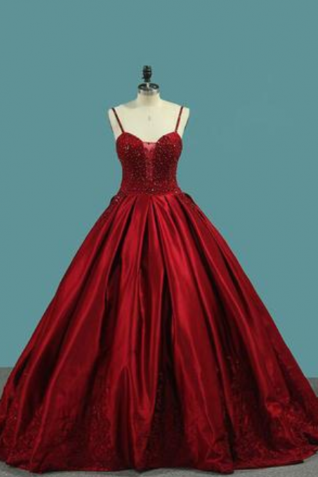 Red Spaghetti Strap Satin Puffy Prom Dress with Crystals, Beading Gorgeous Formal Dress