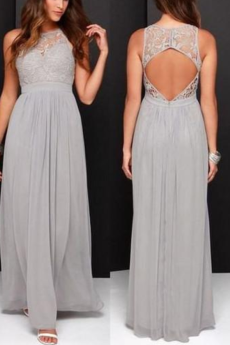 Gray Bridesmaid Dresses,Long Bridesmaid Dress,Lace Bridesmaid Dresses