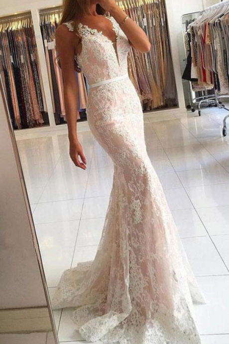 Ivory Mermaid Lace V-neck Long Prom Dresses with Sweep Train,