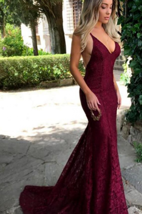 Burgundy Lace Long Prom Dresses, V Neck Spaghetti Strap Long Evening Dress,