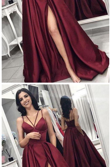 Unique Spaghetti Strap Satin Prom Dress with High Slit, Sexy Burgundy Evening Dress