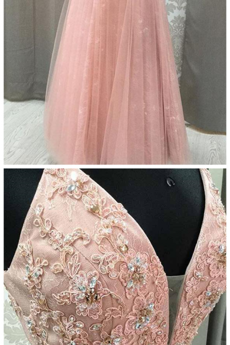 Blush V Neck Prom Dress with Rhinestone, Long Prom Dresses with Appliques