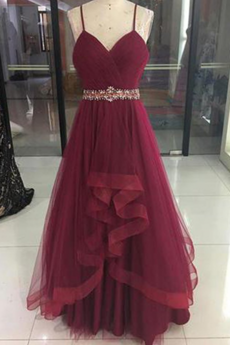Wine Red High Low Party Dress , Cute Straps Junior Prom Dress