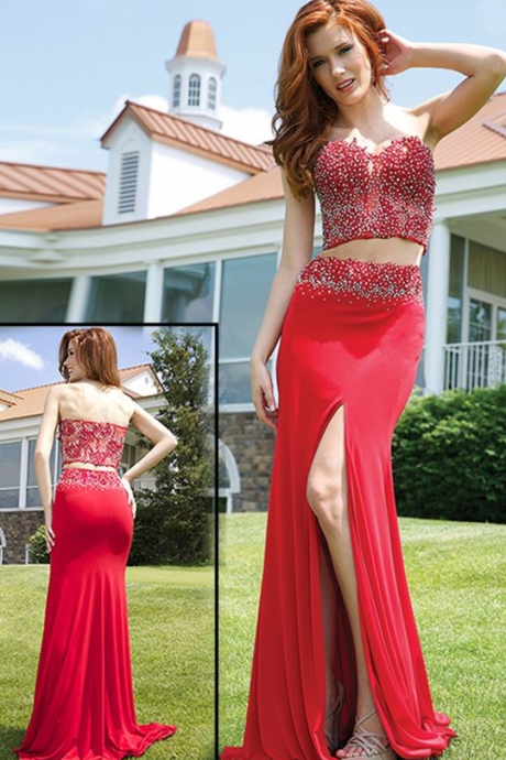 Charming Sexy Evening Dress, Red Evening Dress, Mermaid Evening Dress, Beaded Evening Dress, Long Evening Dress, Cheap Evening Dress, Elegant Evening Dress, Formal Party Dresses,