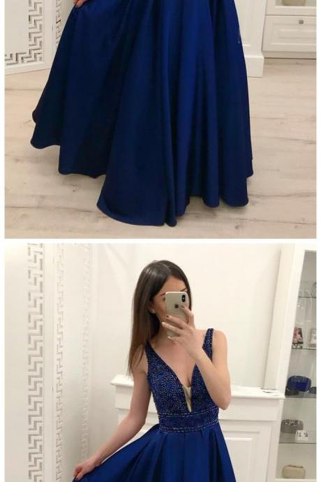 Royal Blue A Line Satin Prom Dresses, Sparkly Beading Sleeveless Party Dresses