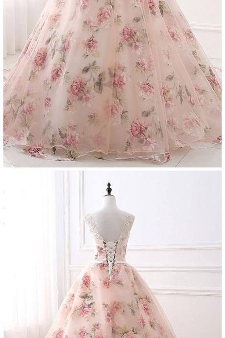 Ball Gown Print Prom Dresses, Lace Up Back Appliques Long Quinceanera Dresses