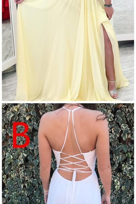 Yellow Halter Appliques Plus Size Prom Dress with Slit, A Line V Neck Sleeveless Party Dress