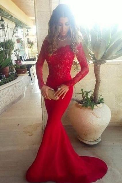 Long Sleeves Red Lace Long Prom Dresses,Mermaid Sheath Evening Dresses,Sexy Prom Dress On Sale