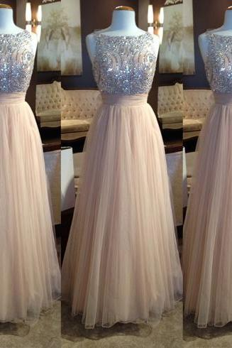 Half SleevesLong Prom Dresses,Beaded Tulle Prom Dress,Charming Evening Dresses,Prom Gowns,Party Dresses,Evening Gowns On Sale