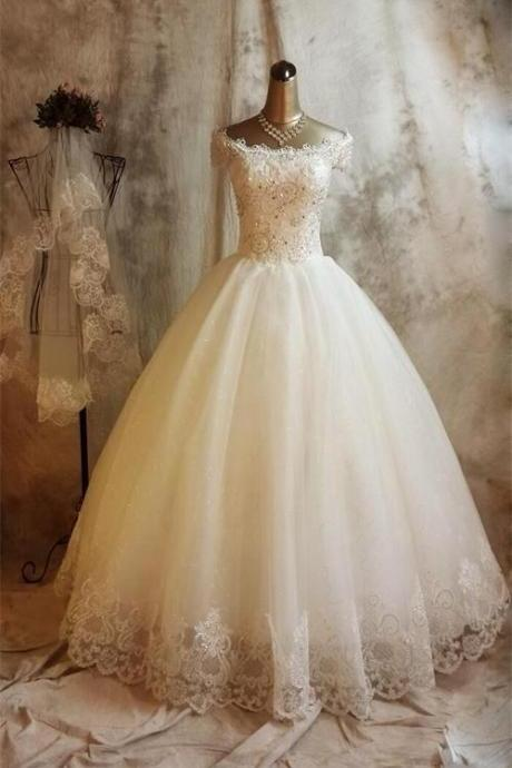 Half SleevesLong Prom Dresses Beaded Tulle Prom Dress Charming Evening Dresses Prom Gowns Party Dresses Evening Gowns On Sale
