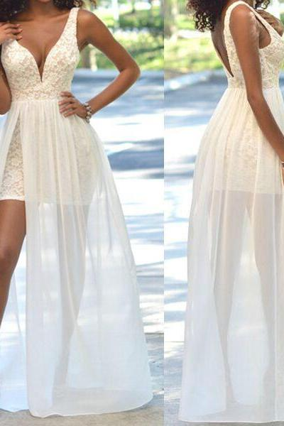 Top Selling Ivory Long Lace Prom Dresses, Charming Beading Prom Dresses Evening Dresses,Prom Dresses Sexy Front Split Prom Dresses Wedding Dresses Beach Wedding Dresses