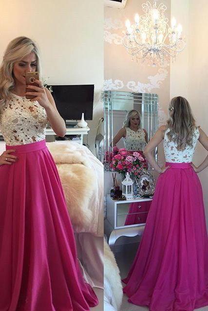Top Selling Beading See Trough White Lace Hot Pink Long Prom Dresses Sexy Sleeveless Prom Dress Custom Made A-line Prom Gown Evening dresses