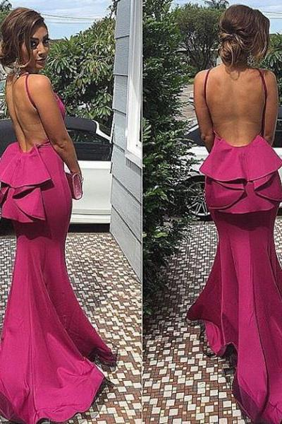 Backless Sexy Charming Prom Dresses,Sheat Evening Dresses, Prom Dresses, Real Spaghetti straps Prom Dresses On Sale