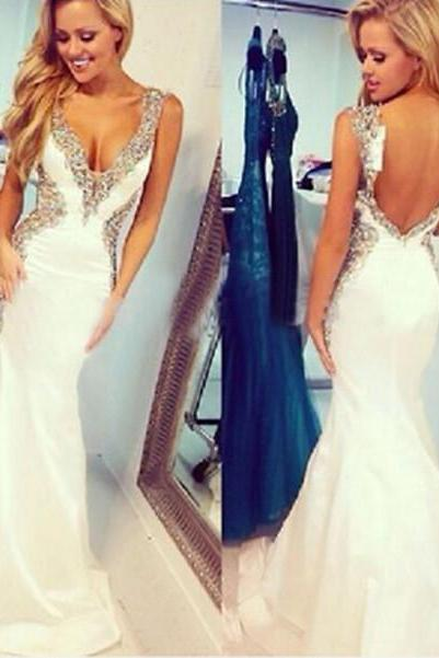 V-Neck Beading Charming Prom Dresses,The Backless Floor-Length Evening Dresses, Prom Dresses, Real Made Prom Dresses On Sale