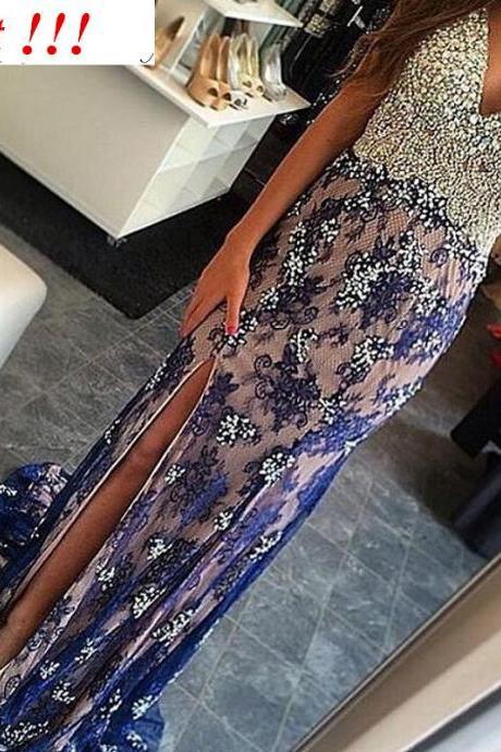 ROYAL BLUE Mermaid Prom Dresses LACE EVENING DRESSES