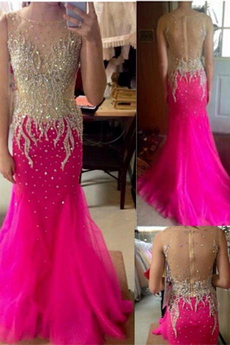 Prom Dress Formal Beading Prom Gown,2017 Gorgeous Sheer Back Prom Dress