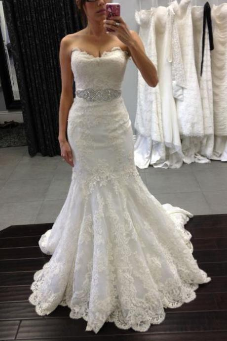 Strapless Sweetheart Lace Appliqués Beaded Mermaid Wedding Dress and Long Train