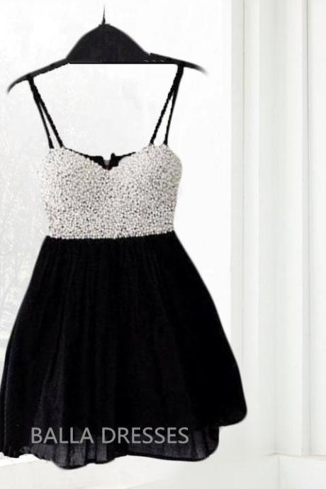 Homecoming Dress,Beaded Spaghetti Straps Homecoming Dress,Graduation Dress,Black Dress,Lovely Homecoming Dress,Mini Dress,Chiffon Homecoming Dress,Junior Party Dress