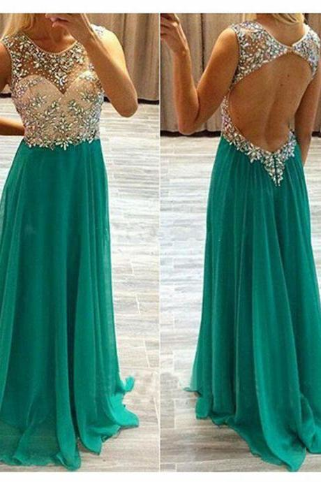 Prom Dress,Beading Prom Dress,Prom Gowns,2016 Prom Dress,Long Prom Dress,Sexy Backless Prom Dress,Formal Prom Dress