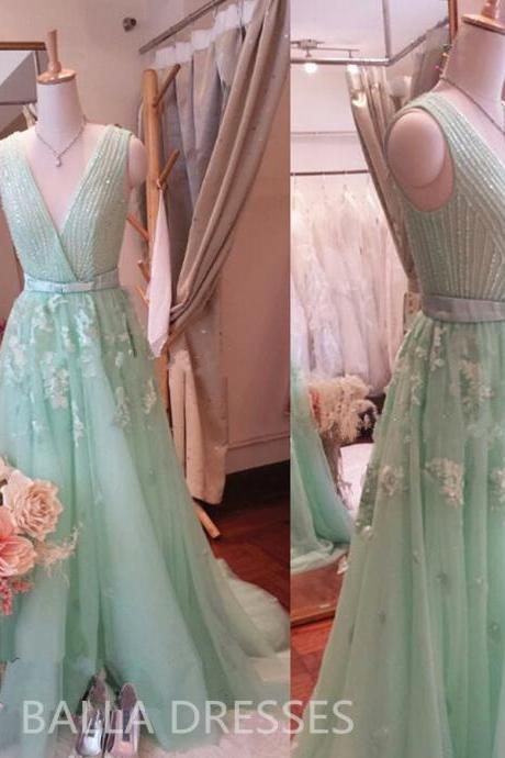 Prom Dress,Mint Green Prom Dress,Zuhair Prom Dress,Crystal Prom Dress,Beading Prom Dress,Eternal Prom Dress,A-Line Long Appliques Prom Dress, Dress For Prom