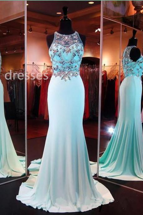 Handmade Blue Beadings Long Prom Gowns,Evening Gowns,Formal Dresses, Prom Gowns 2016,Prom Gown