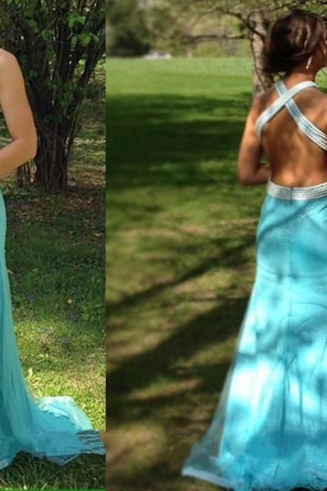 Blue Prom Dresses,Sexy Prom Dresses,Beaded Prom Dresses,Halter Prom Dress,Backless Prom Dress,Long Prom Dresses,Prom Dresses,Prom Dresses