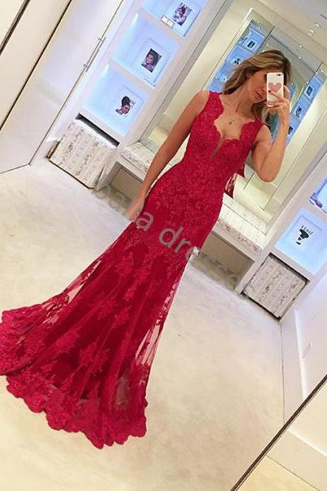 Women Evening Dress Red Lace Evening Dress Long Party Dress Elegant Evening Dress,Dress For Evening,Fast Shipping