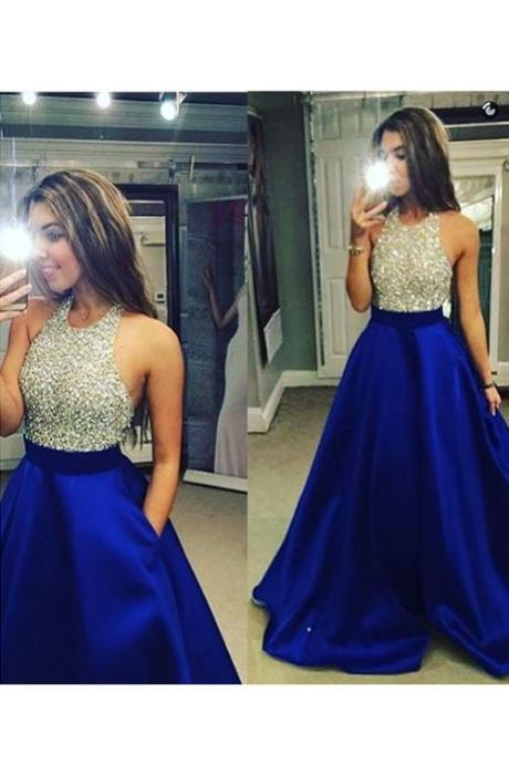 Royal Blue A Line Satin Evening Dresses Crew Neck Beading Crystals Bodice Prom Dresses Elegant Party Gowns Formal Dress Vestidos