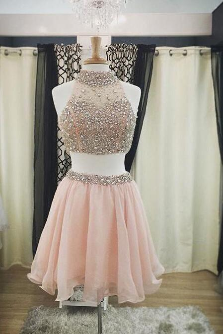 Real Made Two Pieces Short Prom Dresses,Charming Homecoming Dresses,Homecoming Dresses