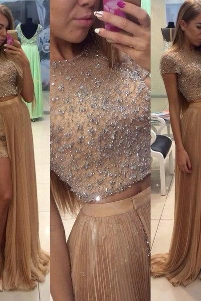 Two Pieces Beading Prom Dresses, Floor-Length Evening Dresses, Real Made Charming Evening Dresses