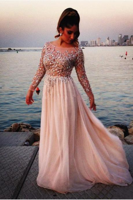 Prom Dresses,Chaming Prom Dresses,Scoop Prom Dress,Full Sleeve Prom Dress,Beaded Prom Dress,Floor Length Prom Dress,Sheer Prom Dress,Sexy Prom Dress