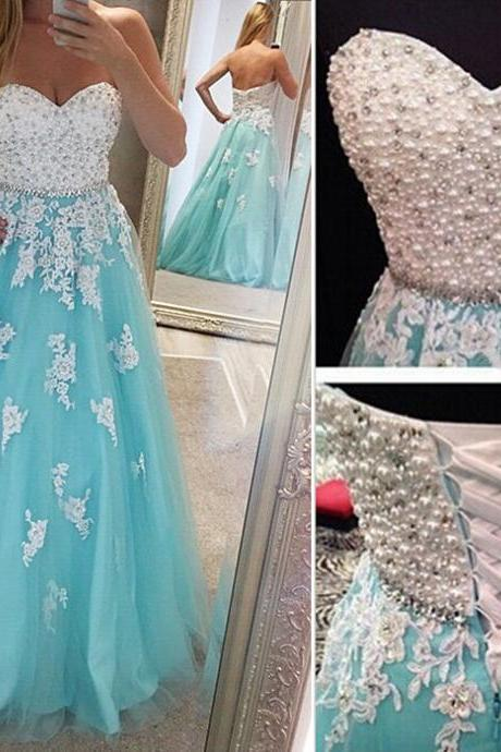 Blue Prom Gown,Lace Prom Gown,Sweetheart Prom Gown,Appliques Prom Gown,Beaded Prom Gown,Pearls Prom Gown,Long Prom Gown,Formal Prom Gown,Party Dress