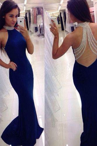 Sexy Open Back Mermaid Blue Prom Dress,Backless Graduation Dress,Sexy Formal Evening Dress,Halter Neckline Prom Gown