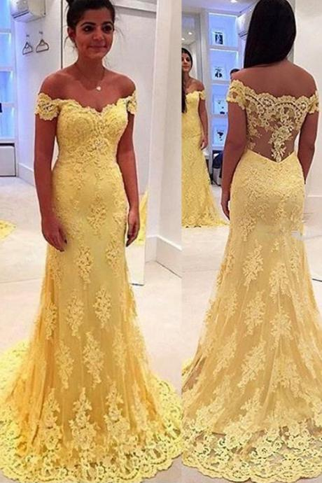 See Through Back Yellow Lace Prom Dress,Mermaid Off Shoulder Lace Graduation Dress,Yellow Lace Party Dress