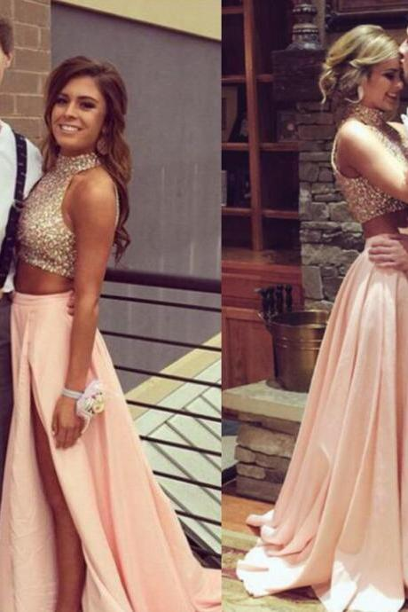 Fashion Two Pieces Blush Prom Dress,Sexy Slit Graduation Dresses,Beaded Two Pieces Formal Party Dress,Prom Gowns 2016