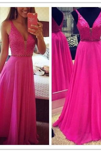 Deep V-Neckline Sexy Prom Dress,V-Back Evening Party Dress,Sexy Graduation Dress,Sequins Formal Party Dress