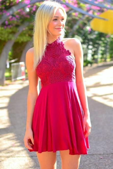 Knee Length Lace Prom Dress,Mini Halter Red Cocktail Dresses, Sexy Red Lace Party Dresses