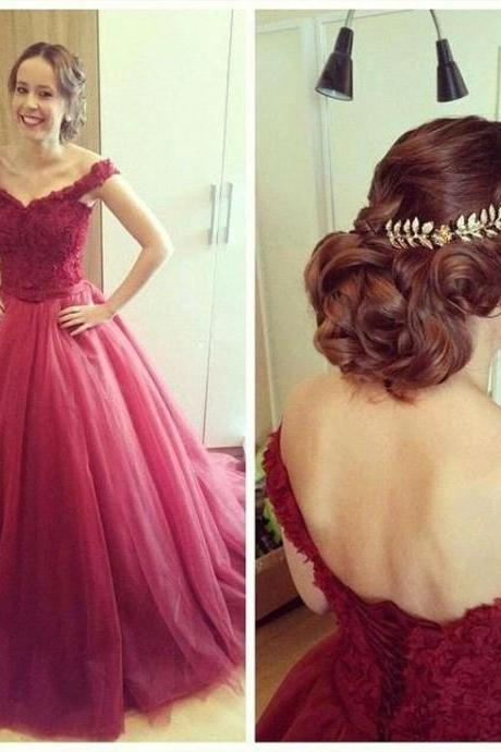Sexy Off Shoulder Prom Dresses,Burgundy Ball Gown Graduation Dresses,Sexy Colorful Wedding Dresses