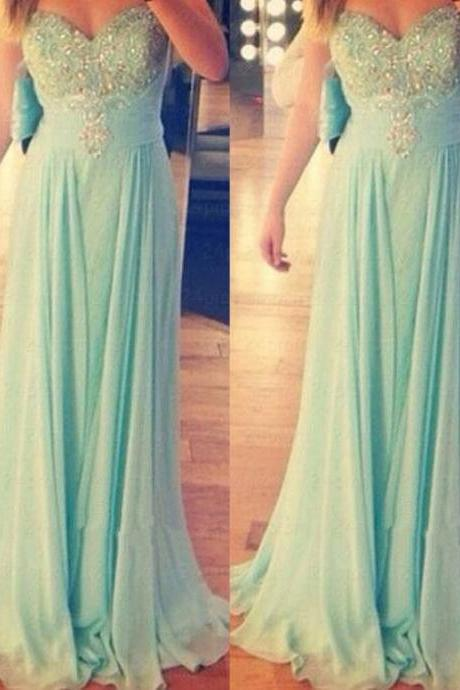 Handmade Beaded Sweetheart Prom Dresses,Mint Green Beaded Graduation Dresses,Strapless Mint Evening Dresses