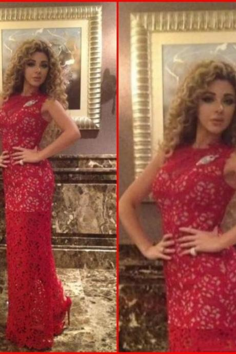 Dresses Evening Wear Myriam Fares Red Evening Dresses Jewel Collar Sweep Train Lace Appliques New Prom Pageant Formal Party Dress Gown