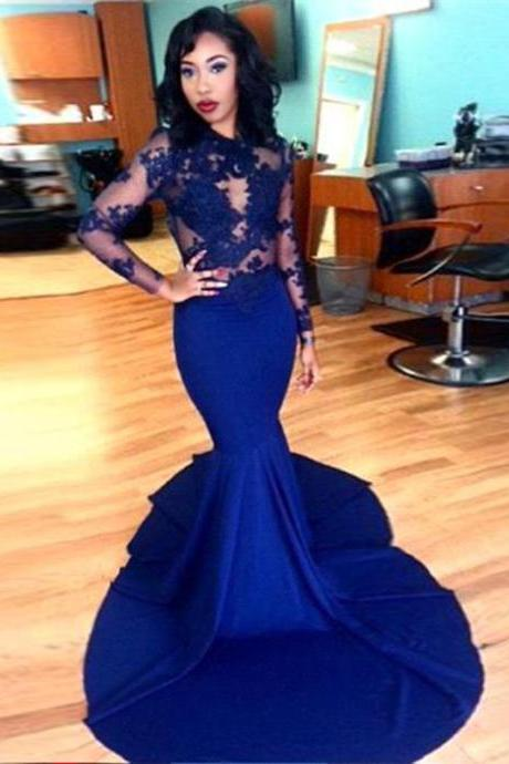 Sexy Prom Dress,2016 Mermaid See Through Long Sleeve 2017 Prom Dress,Formal Royal Blue Prom Dresses Vestido De Festa Evening Gown
